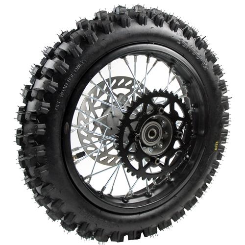 roue arriere complete 14 pouces axe 15 mm pi ces dirt bike pit bike. Black Bedroom Furniture Sets. Home Design Ideas