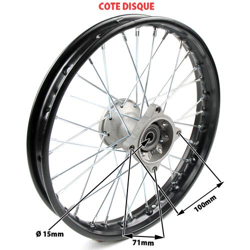 roue avant complete 14 pouces axe 15 mm pi ces dirt bike pit bike. Black Bedroom Furniture Sets. Home Design Ideas