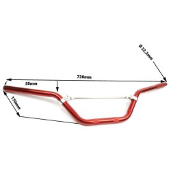 Guidon alu rouge pour dirt bike dimension