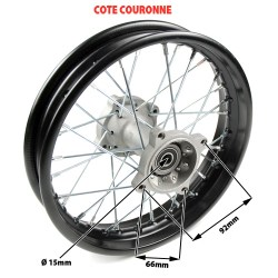 Roue arriere complete diametre 14p axe 15mm dimension