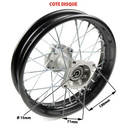 Roue arriere complete diametre 12p axe 15mm pour dirt bike dimension