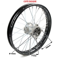 Jante avant acier supermotard 12x1,85 axe 15mm dimension